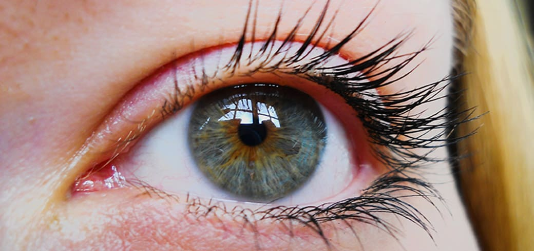 Close up of a woman's blue eyes